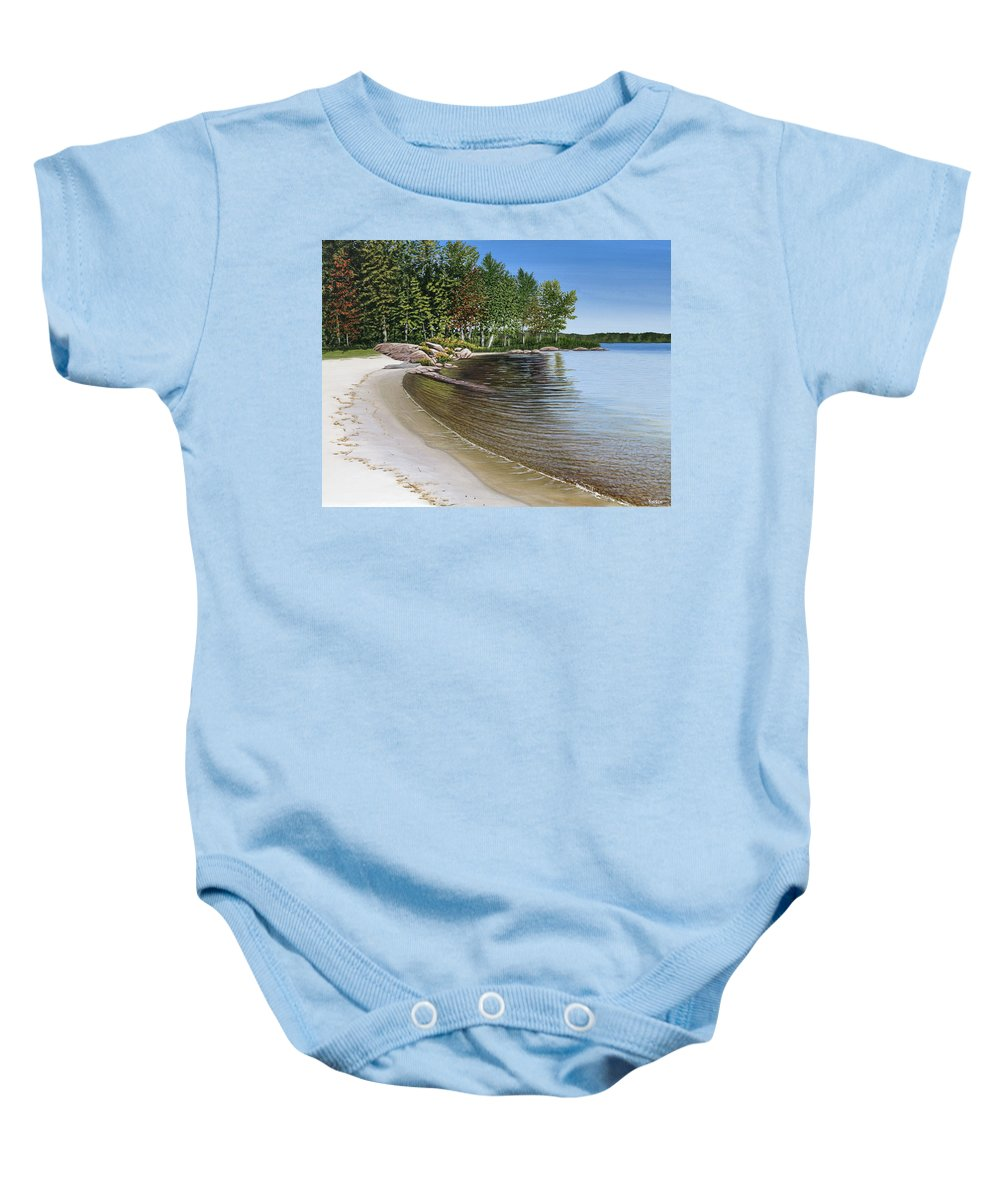 Landscapes Baby Onesie featuring the painting Beach In Muskoka by Kenneth M Kirsch