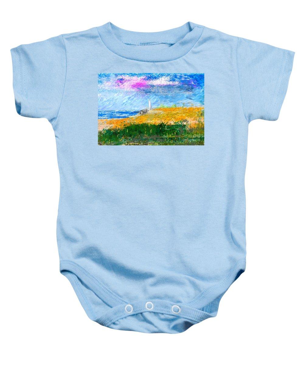 Digital Painting Baby Onesie featuring the digital art Beach Lighthouse by David Lane
