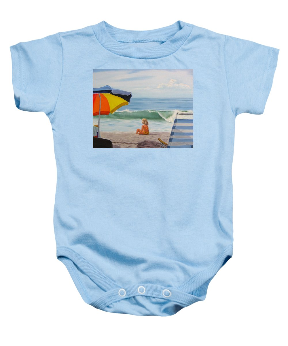 Seascape Baby Onesie featuring the painting Beach Scene - Childhood by Lea Novak