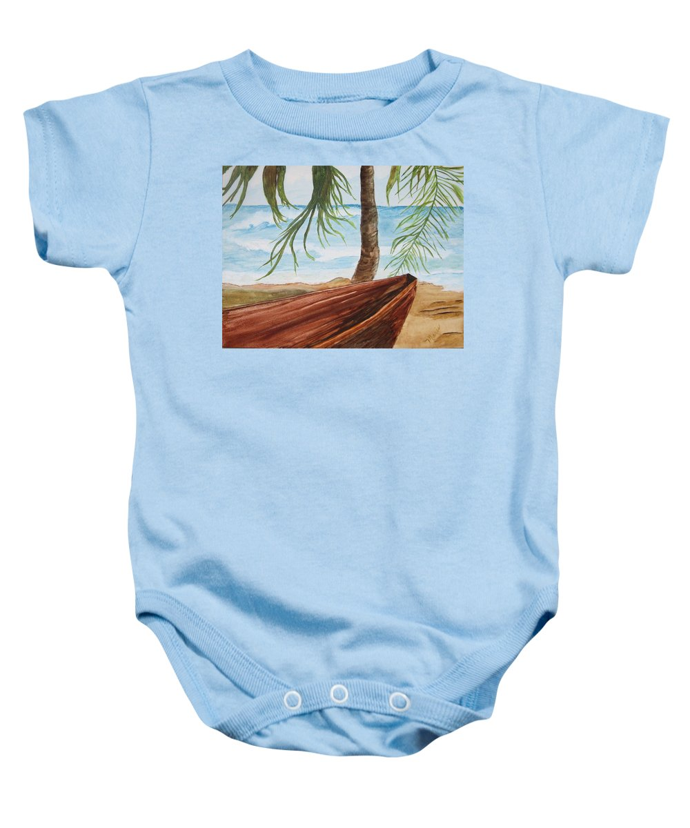 Landscape Baby Onesie featuring the painting Beached Boat by Maris Sherwood