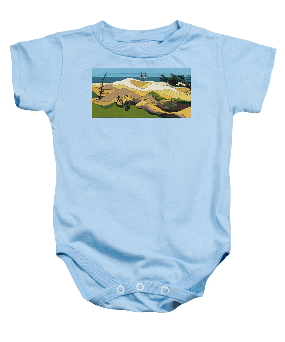 Beach Baby Onesie featuring the painting Beaches by Konni Jensen