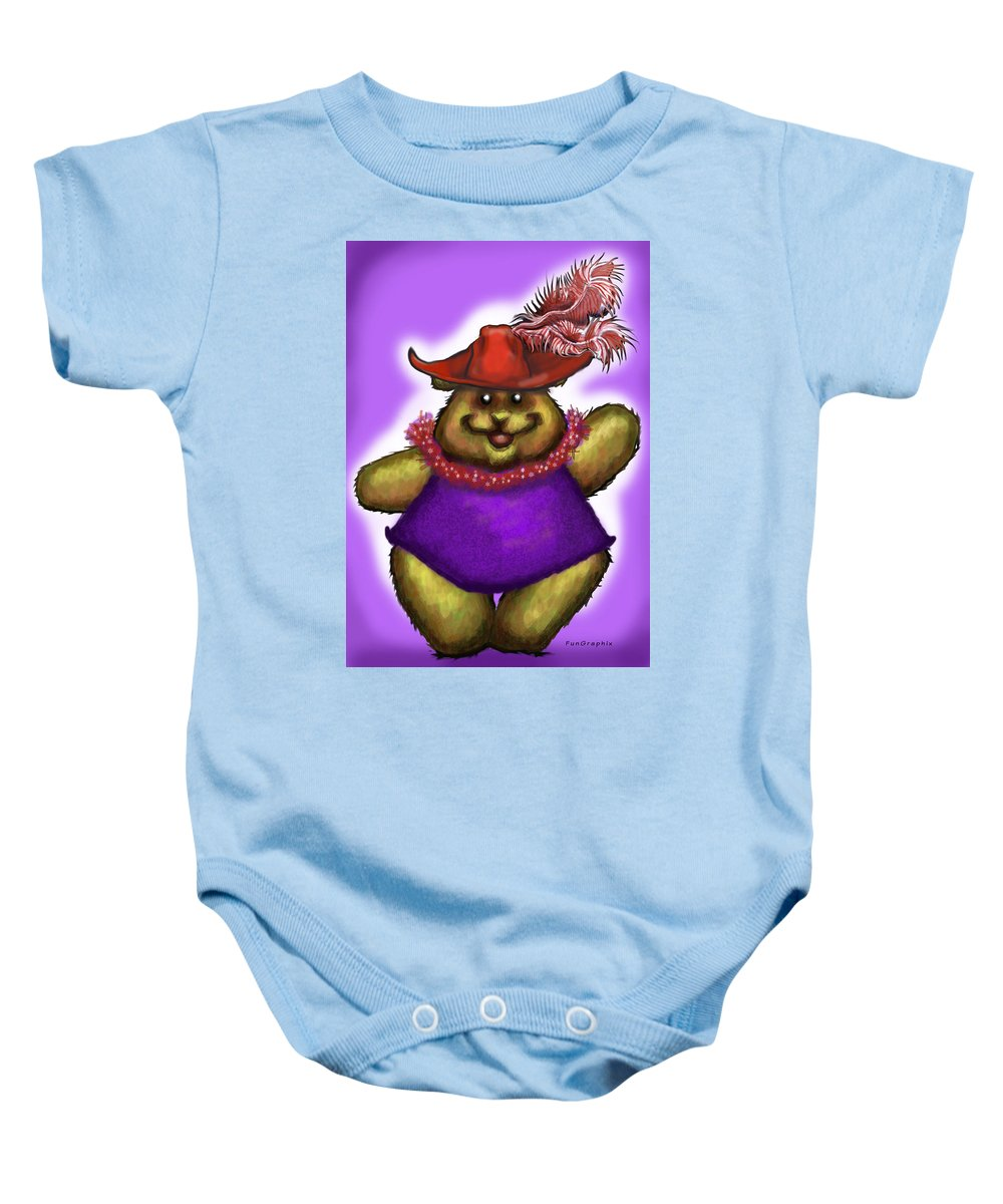 Red Hat Baby Onesie featuring the greeting card Bear In Red Hat by Kevin Middleton