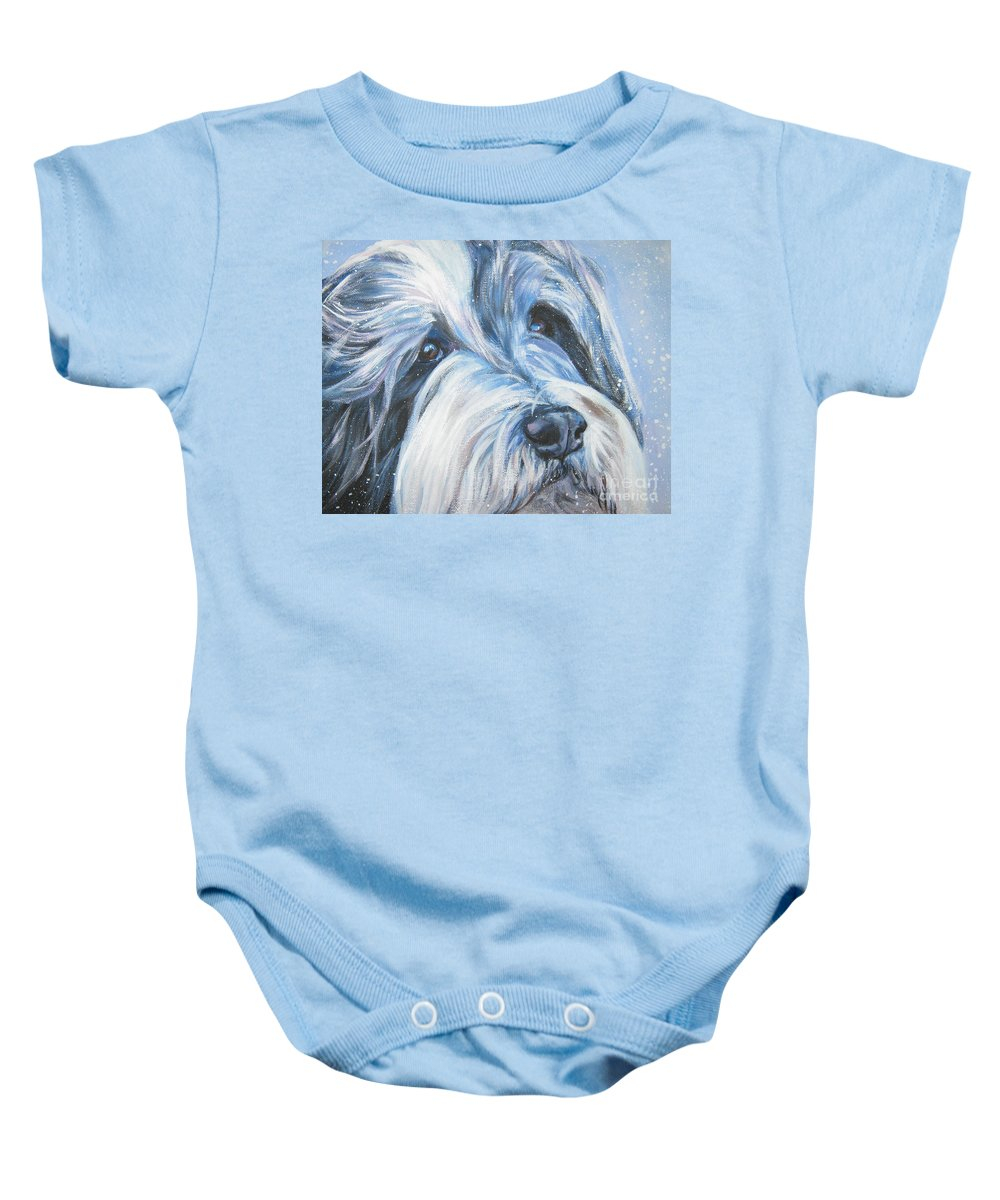 Dog Baby Onesie featuring the painting Bearded Collie Up Close In Snow by Lee Ann Shepard