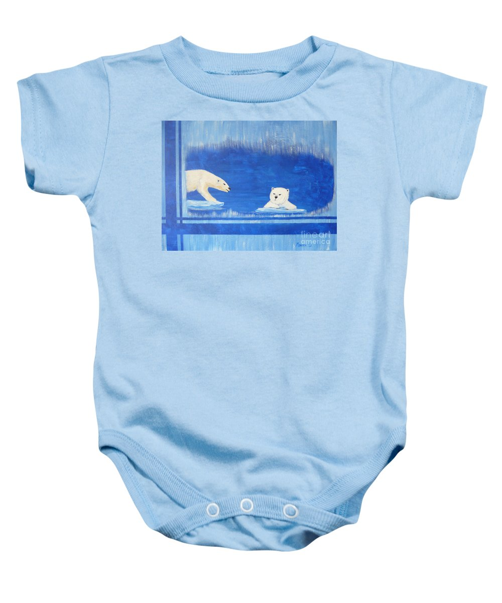 Polar Bear Baby Onesie featuring the painting Bears In Global Warming by Monika Shepherdson