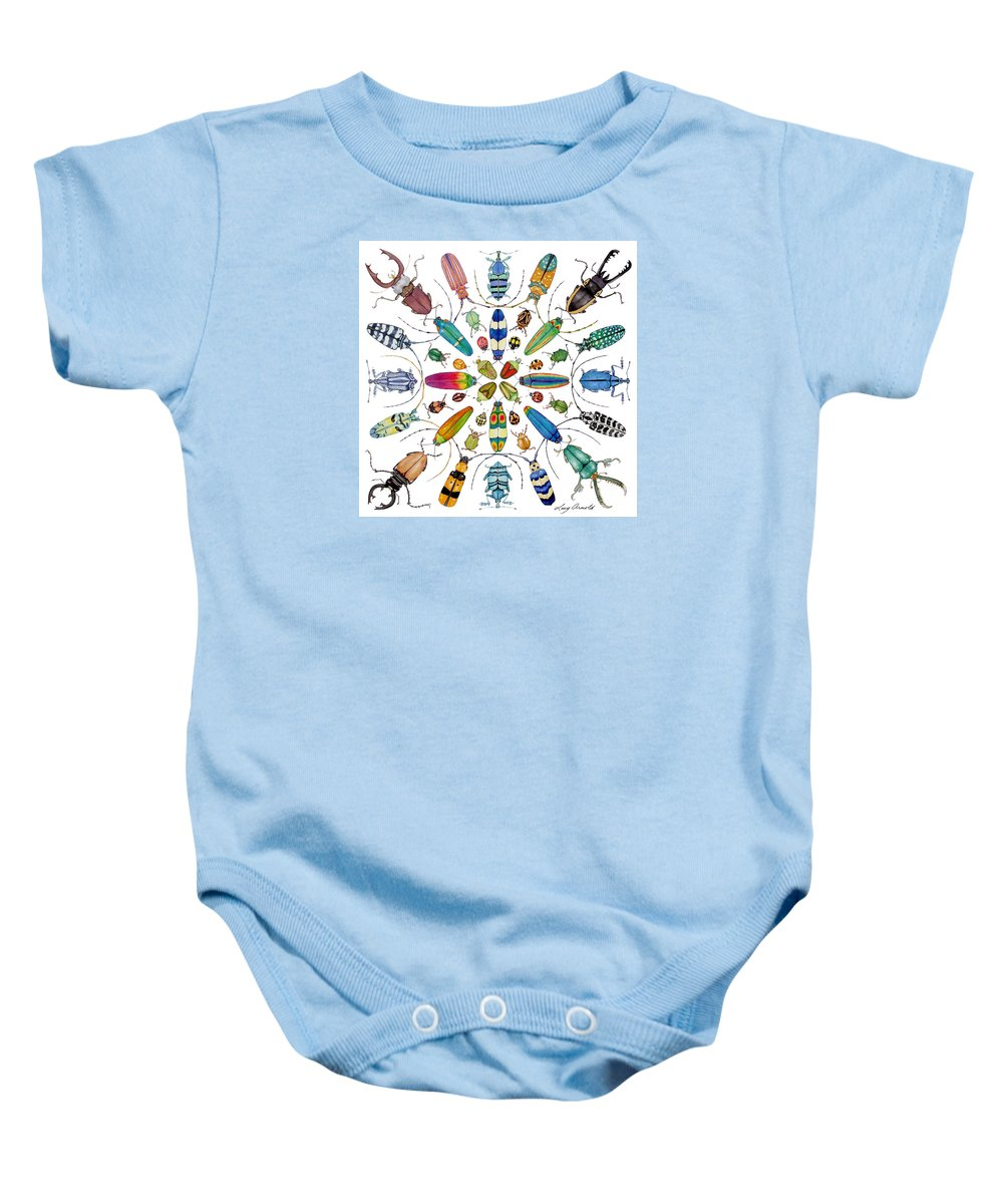 Insects Baby Onesie featuring the painting Beautiful Beetles by Lucy Arnold
