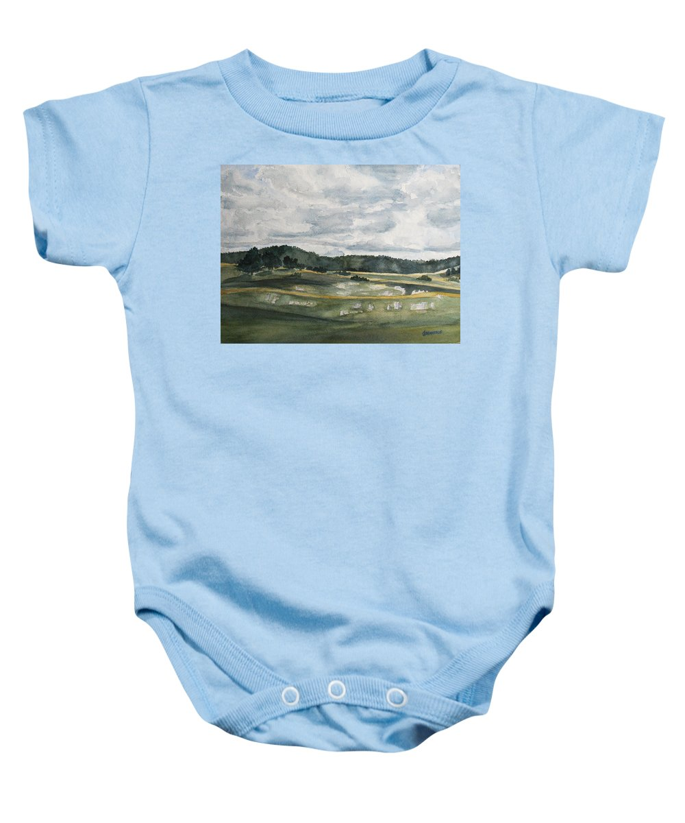 Colorado Baby Onesie featuring the painting Before The Afternoon Shower by Jenny Armitage