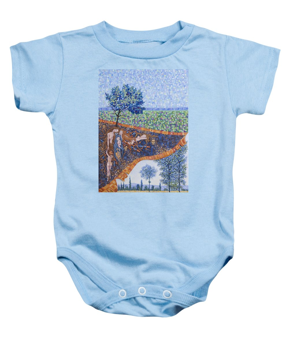 Canvas Baby Onesie featuring the painting Behind The Canvas by Judy Henninger