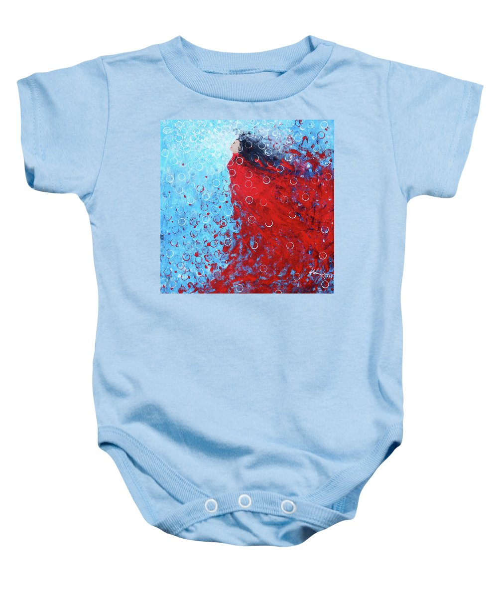 Being A Woman Baby Onesie featuring the painting Being A Woman 6 - In Water by Kume Bryant
