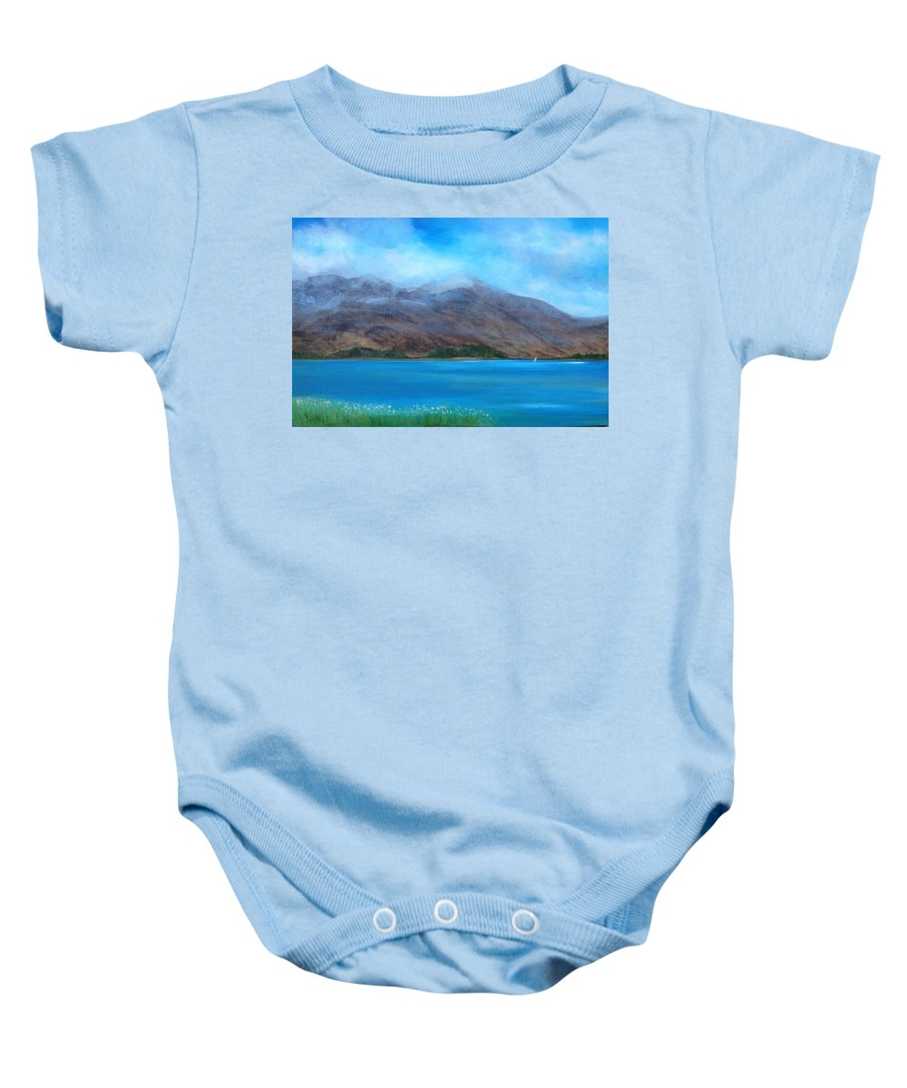 Scotland Baby Onesie featuring the painting Ben More On Mull by Scott Brennan