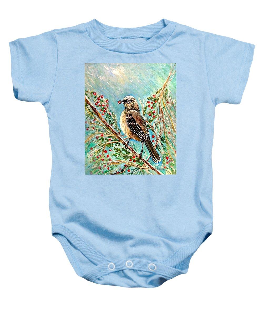 Mocking Bird Baby Onesie featuring the painting Berry Picking Time by Carol Allen Anfinsen