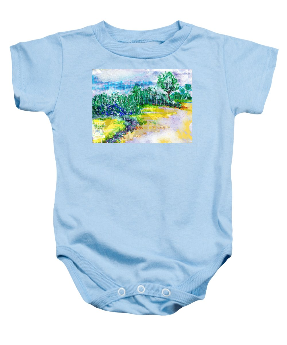 Beyond The Clouds Baby Onesie featuring the drawing Beyond The Clouds by Seth Weaver