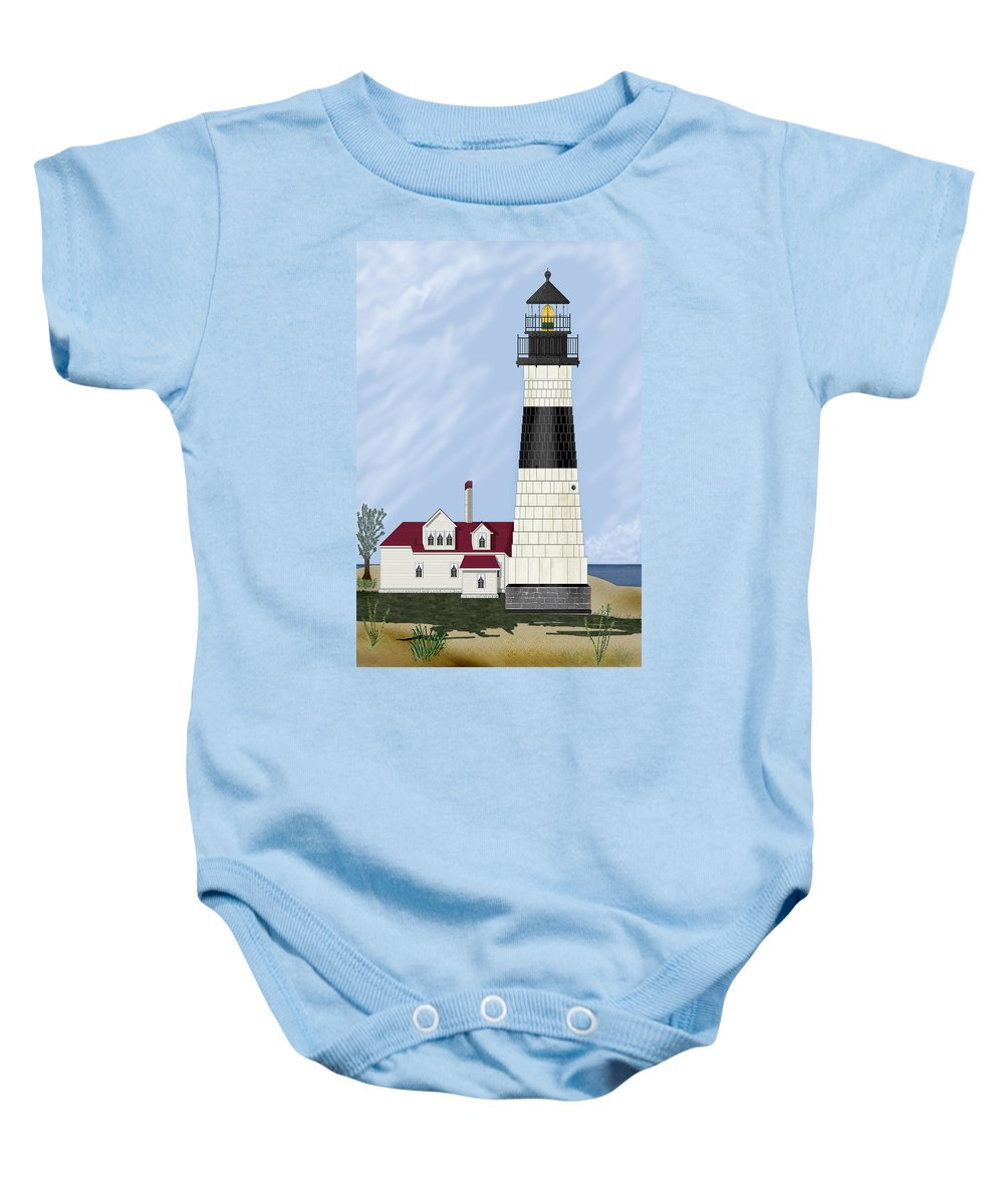 Big Sable Michigan Lighthouse Baby Onesie featuring the painting Big Sable Michigan by Anne Norskog