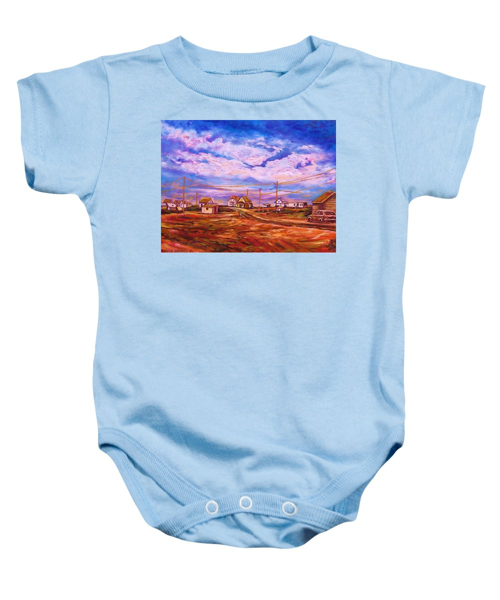 Cloudscapes Baby Onesie featuring the painting Big Sky Red Earth by Carole Spandau