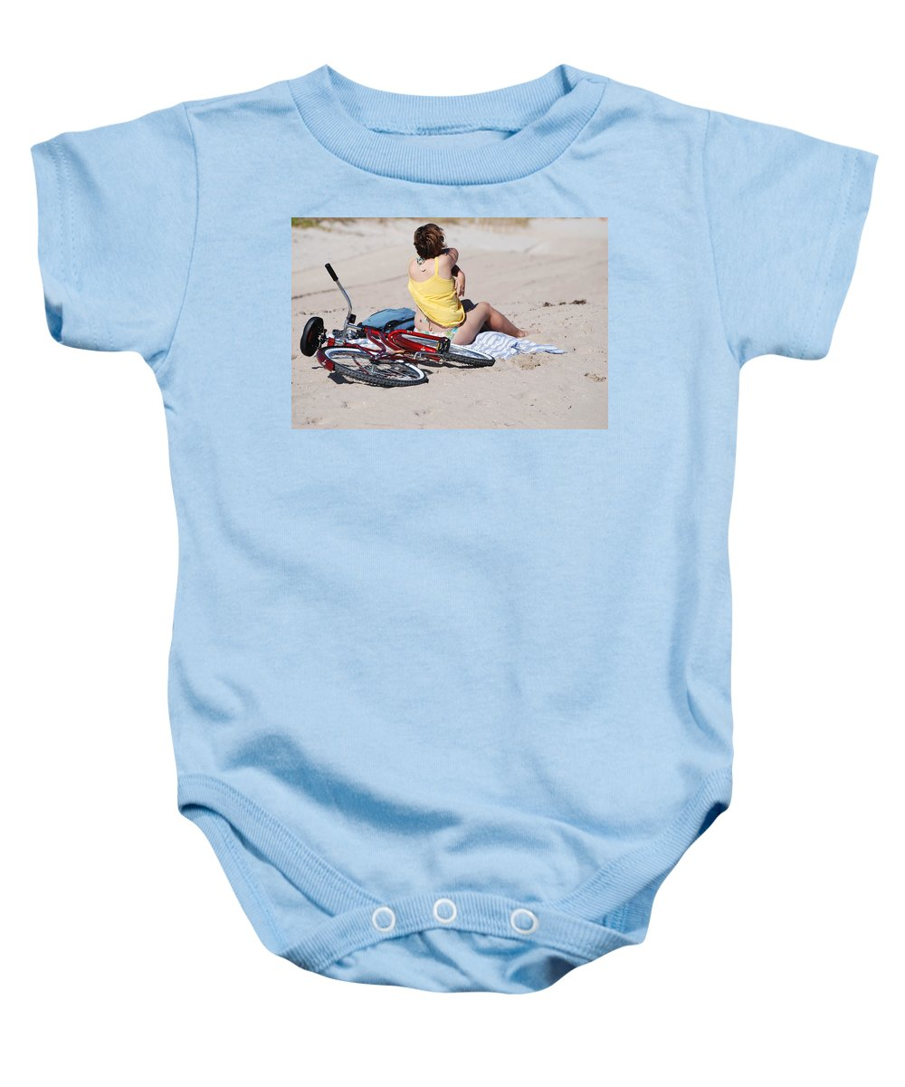 Red Baby Onesie featuring the photograph Bike On The Beach by Rob Hans