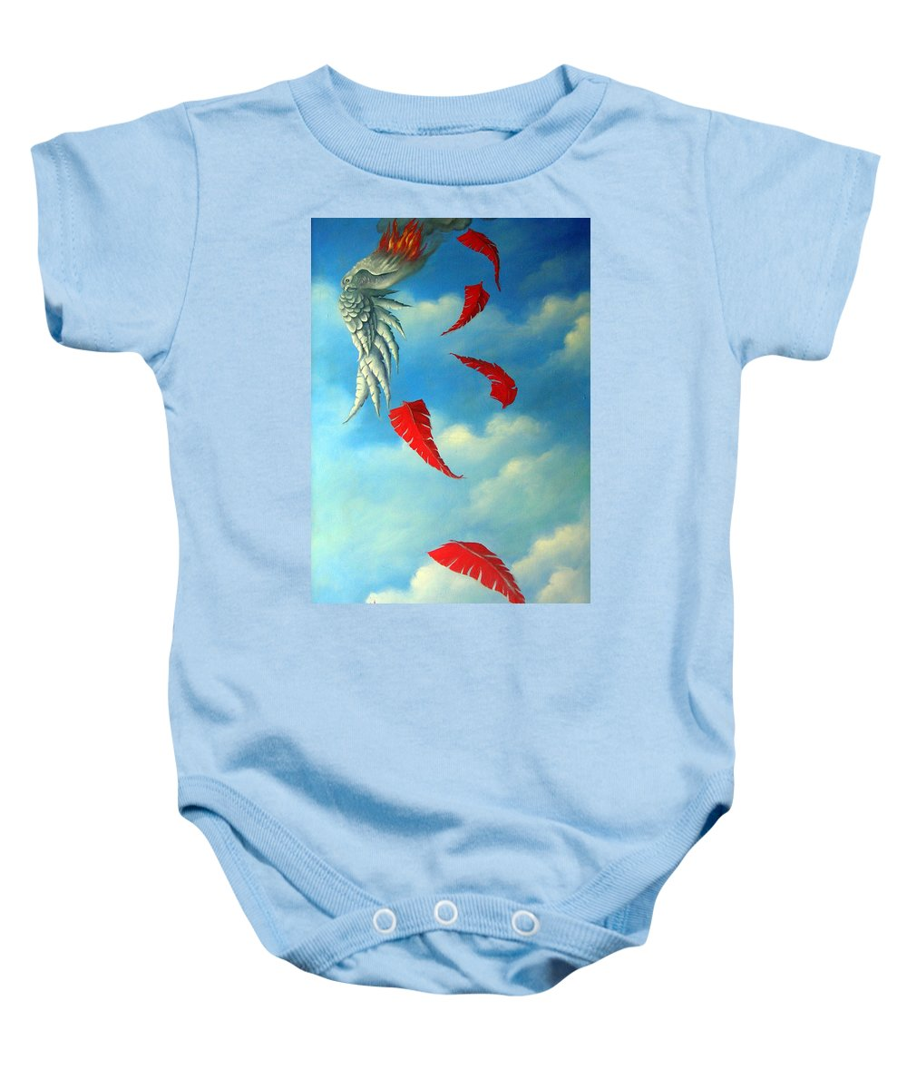 Surreal Baby Onesie featuring the painting Bird On Fire by Valerie Vescovi