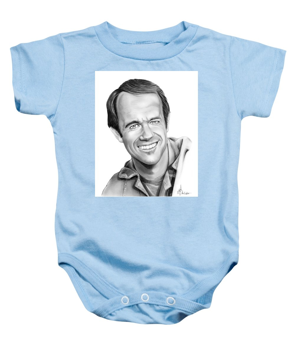 Pencil Baby Onesie featuring the drawing Bj-mike Farrell by Murphy Elliott