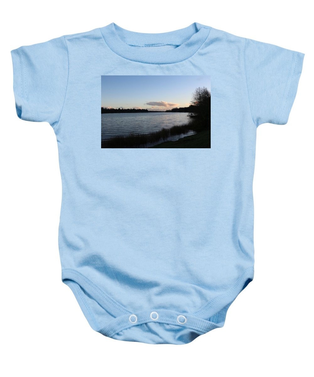 Sunset Baby Onesie featuring the photograph Black Lake by Dani Keating