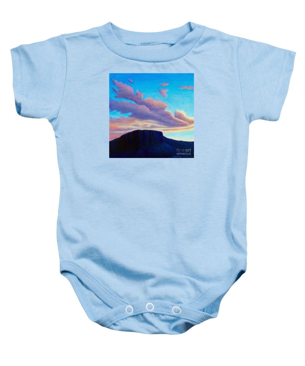 Landscape Baby Onesie featuring the painting Black Mesa Sunset by Brian Commerford