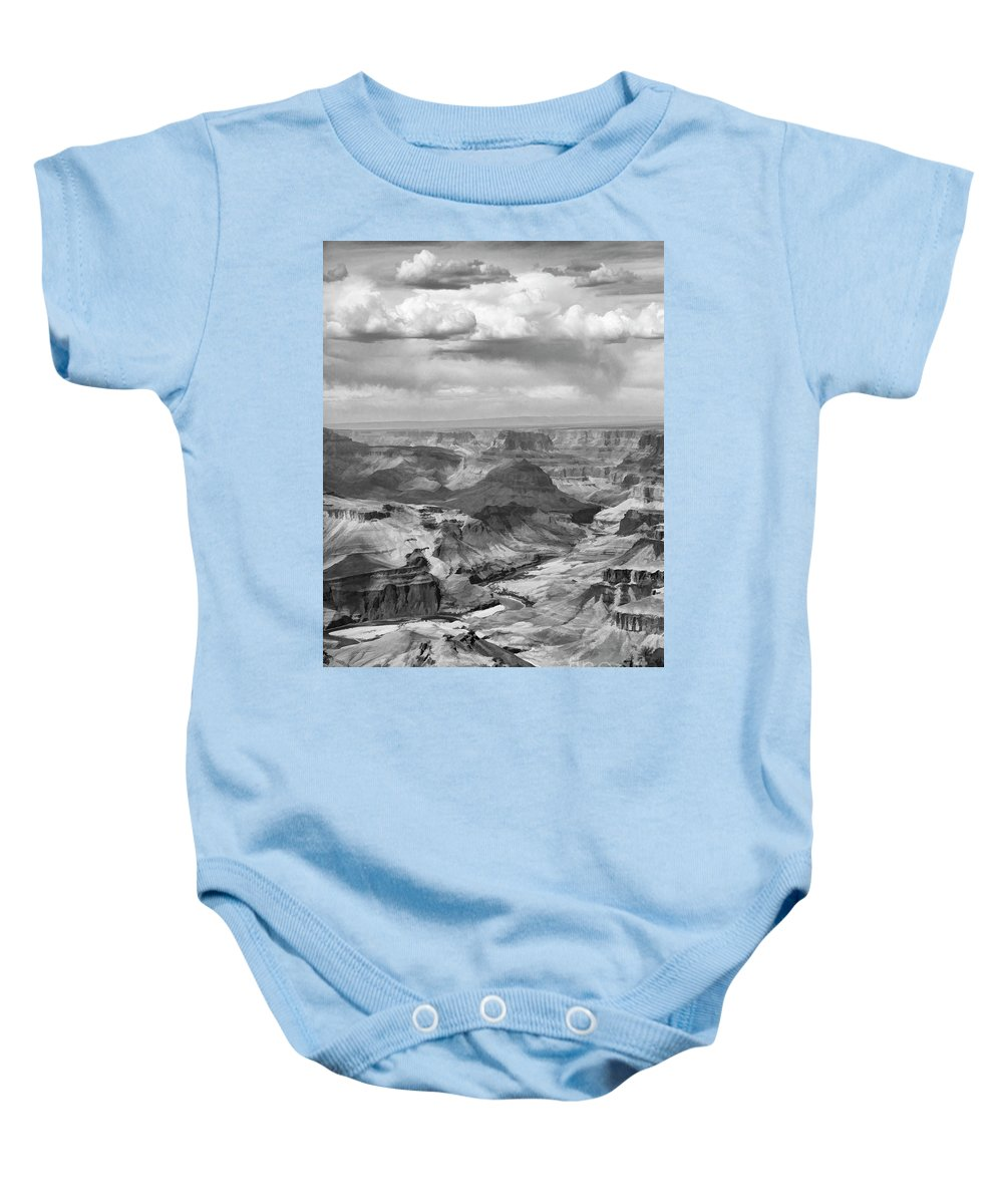 Grand Canyon Baby Onesie featuring the photograph Black White Filter Grand Canyon by Chuck Kuhn