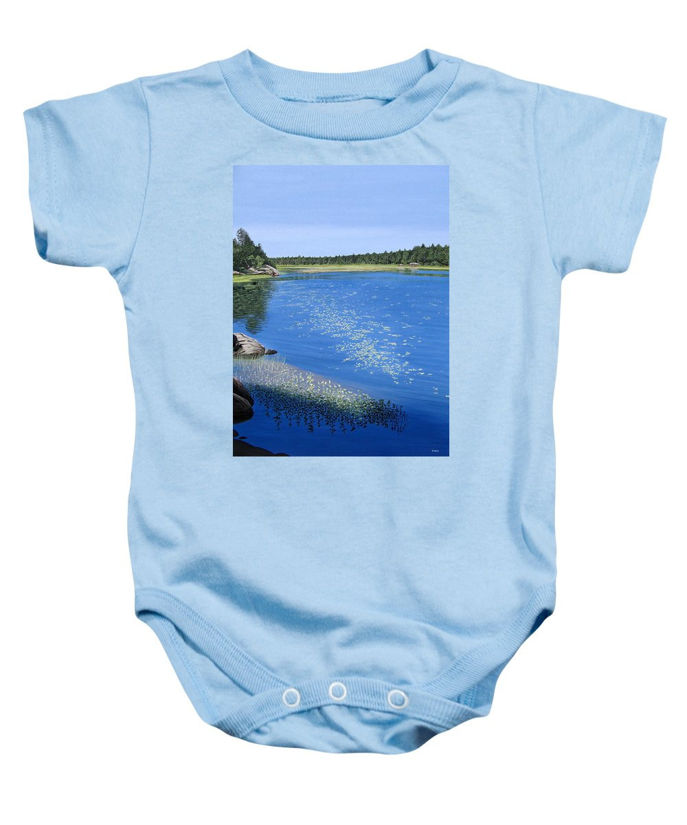 Landscapes Baby Onesie featuring the painting Blackstone Bog by Kenneth M Kirsch