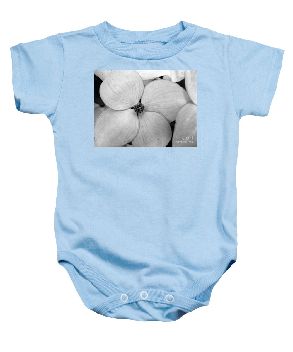 Blossom Baby Onesie featuring the photograph Blossom In Black And White by Tara Turner
