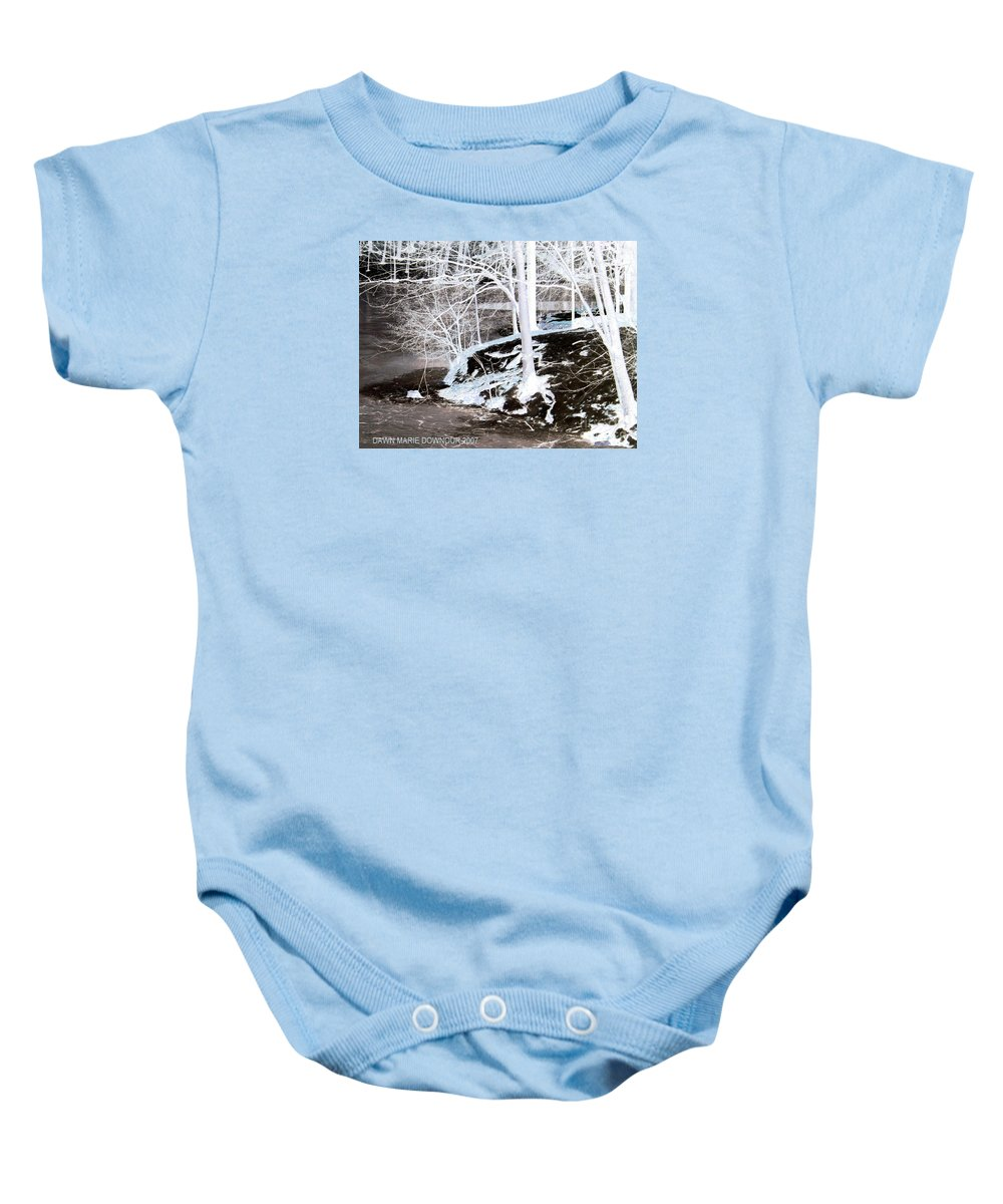 Landscape Baby Onesie featuring the photograph Blue And Brown Trees by Dawn Downour