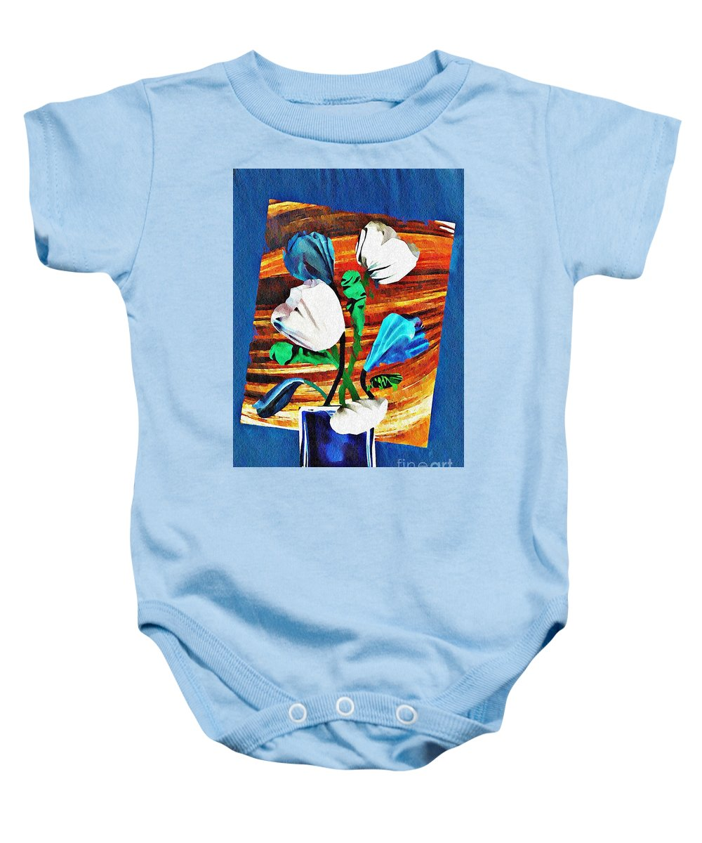 Tulip Baby Onesie featuring the mixed media Blue And White Tulips by Sarah Loft