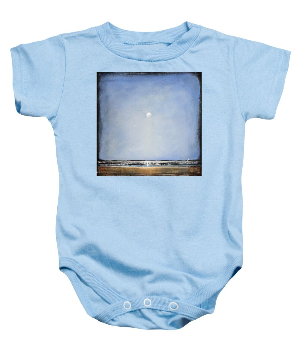 Minimalist Baby Onesie featuring the painting Blue Day by Toni Grote