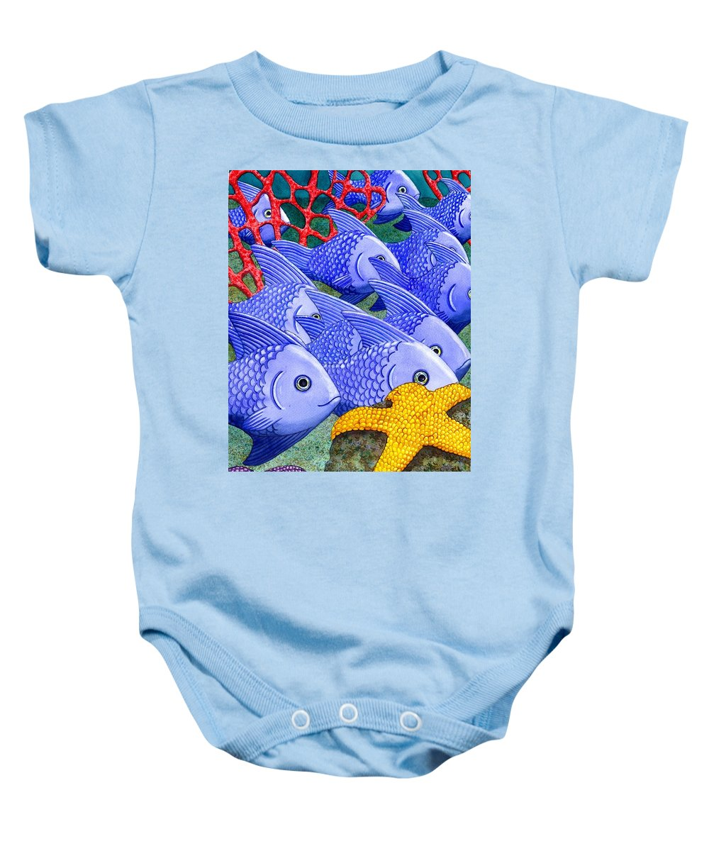 Fish Baby Onesie featuring the painting Blue Fish by Catherine G McElroy