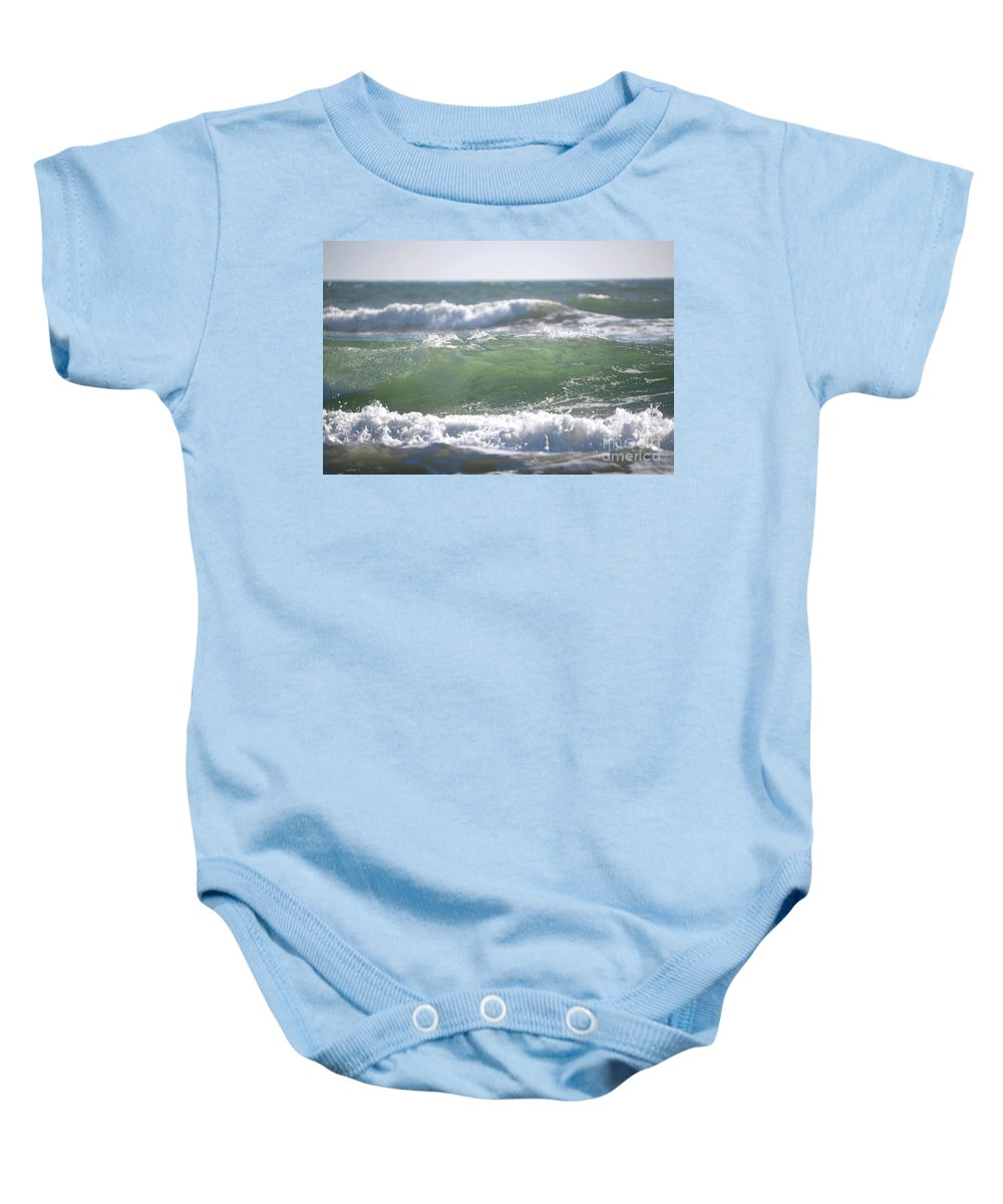 Denise Bruchman Baby Onesie featuring the photograph Blue Green Waves by Denise Bruchman