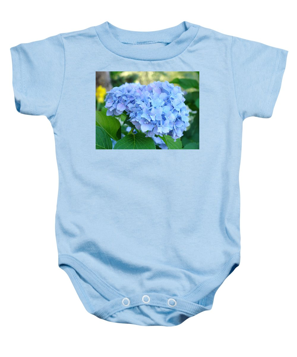 Hydrangea Baby Onesie featuring the photograph Blue Hydrangea Flowers Art Botanical Nature Garden Prints by Baslee Troutman