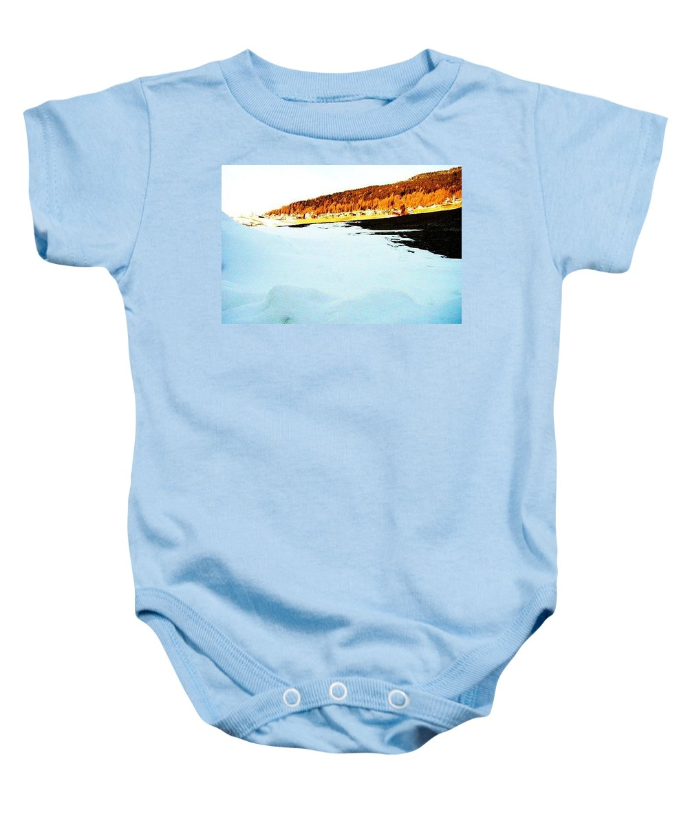 Switzerland Baby Onesie featuring the photograph Blue Ice by Nila Poduschco