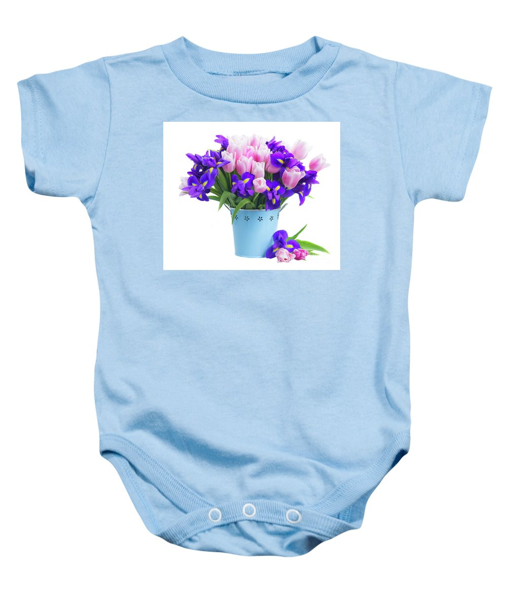 Iris Baby Onesie featuring the photograph Blue And Pink by Anastasy Yarmolovich