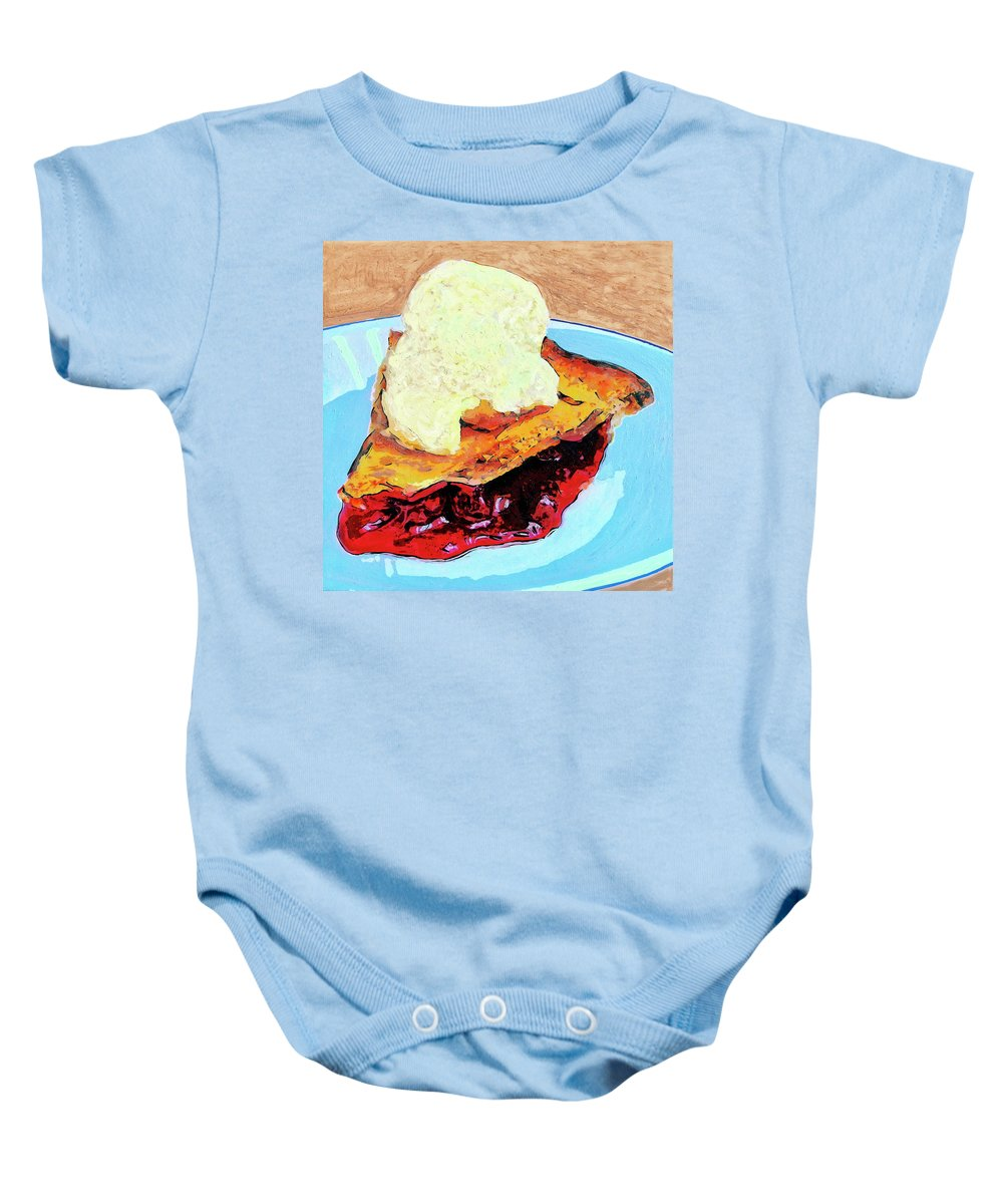 Cherry Pie Baby Onesie featuring the painting Blue Plate Special by Dominic Piperata