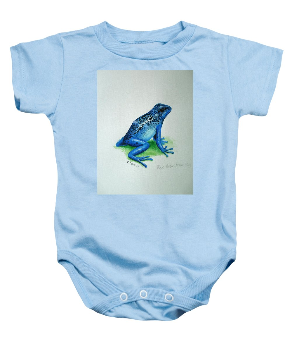 Poison Arrow Frog Baby Onesie featuring the painting Blue Poison Arrow Frog by Christopher Cox