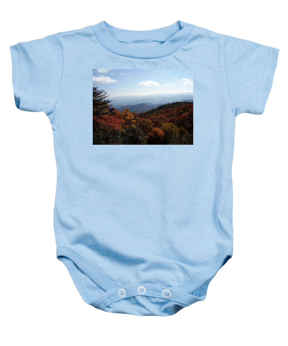 Blue Ridge Mountains Baby Onesie featuring the photograph Blue Ridge Mountains by Flavia Westerwelle
