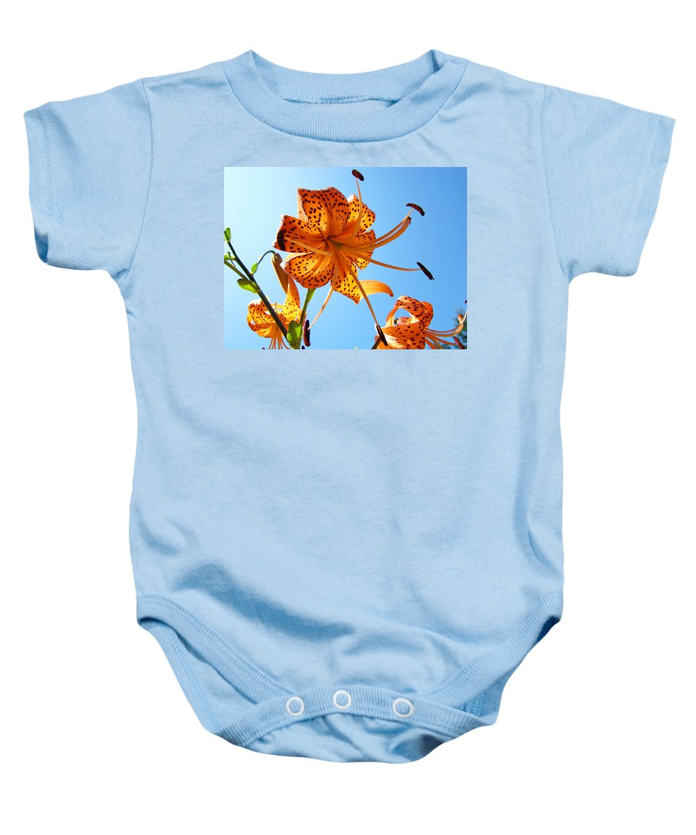 Lilies Baby Onesie featuring the photograph Blue Sky Tiger Lily Floral Garden Art Prints Baslee Troutman by Baslee Troutman