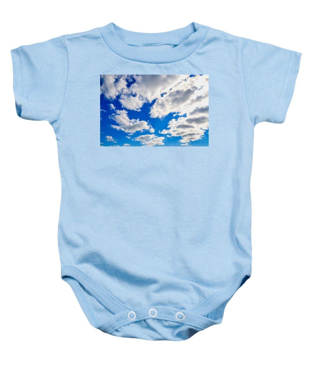 Blue Sky With Cloud Closeup Baby Onesie featuring the painting Blue Sky With Cloud Closeup 2 by Jeelan Clark