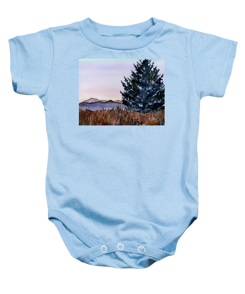 Watercolor Baby Onesie featuring the painting Blue Spruce by Brenda Owen