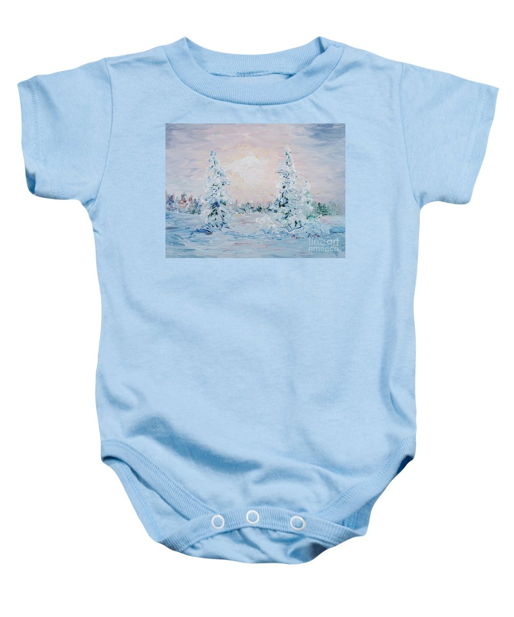 Landscape Baby Onesie featuring the painting Blue Winter by Nadine Rippelmeyer