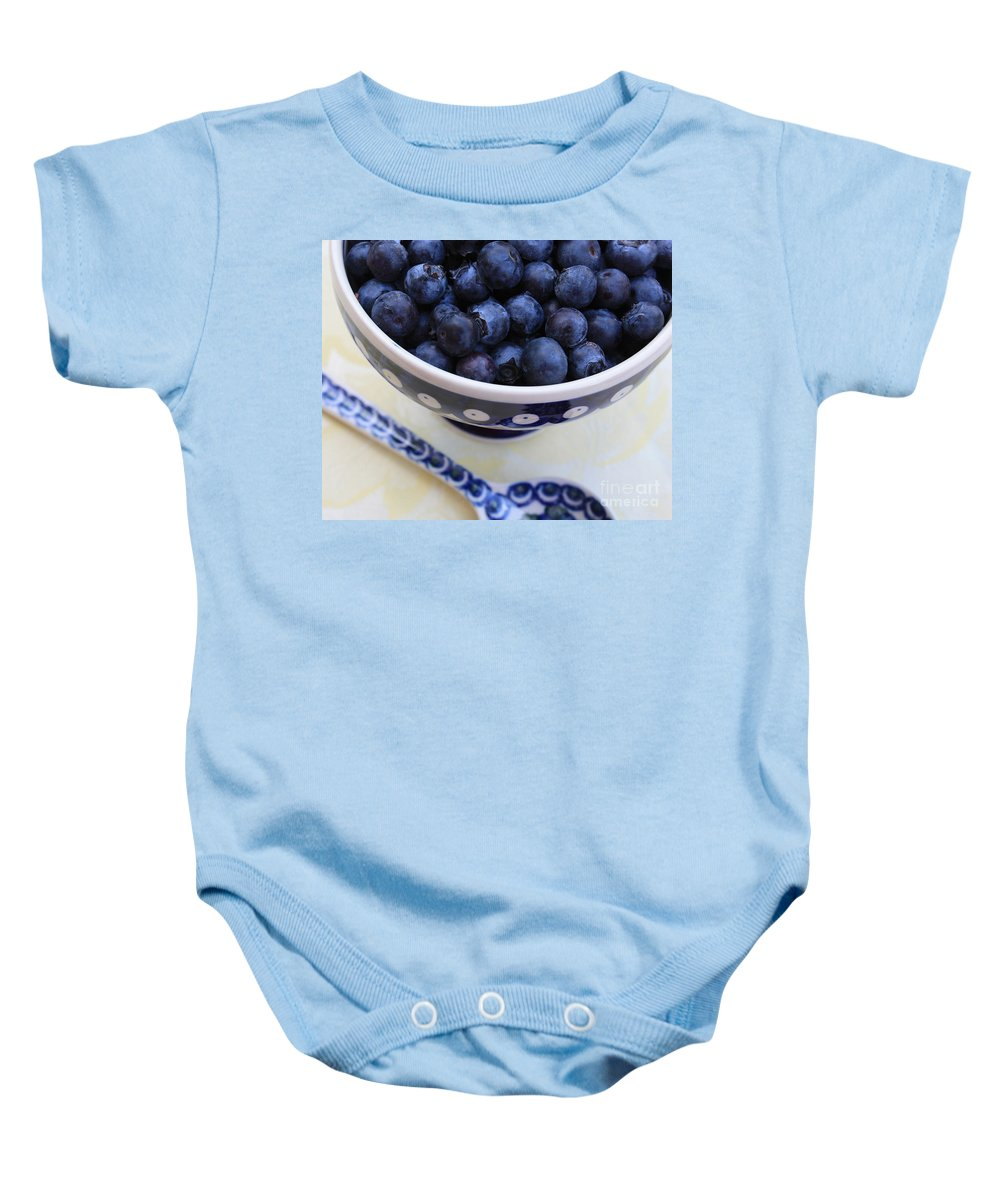 Food Baby Onesie featuring the photograph Blueberries With Spoon by Carol Groenen