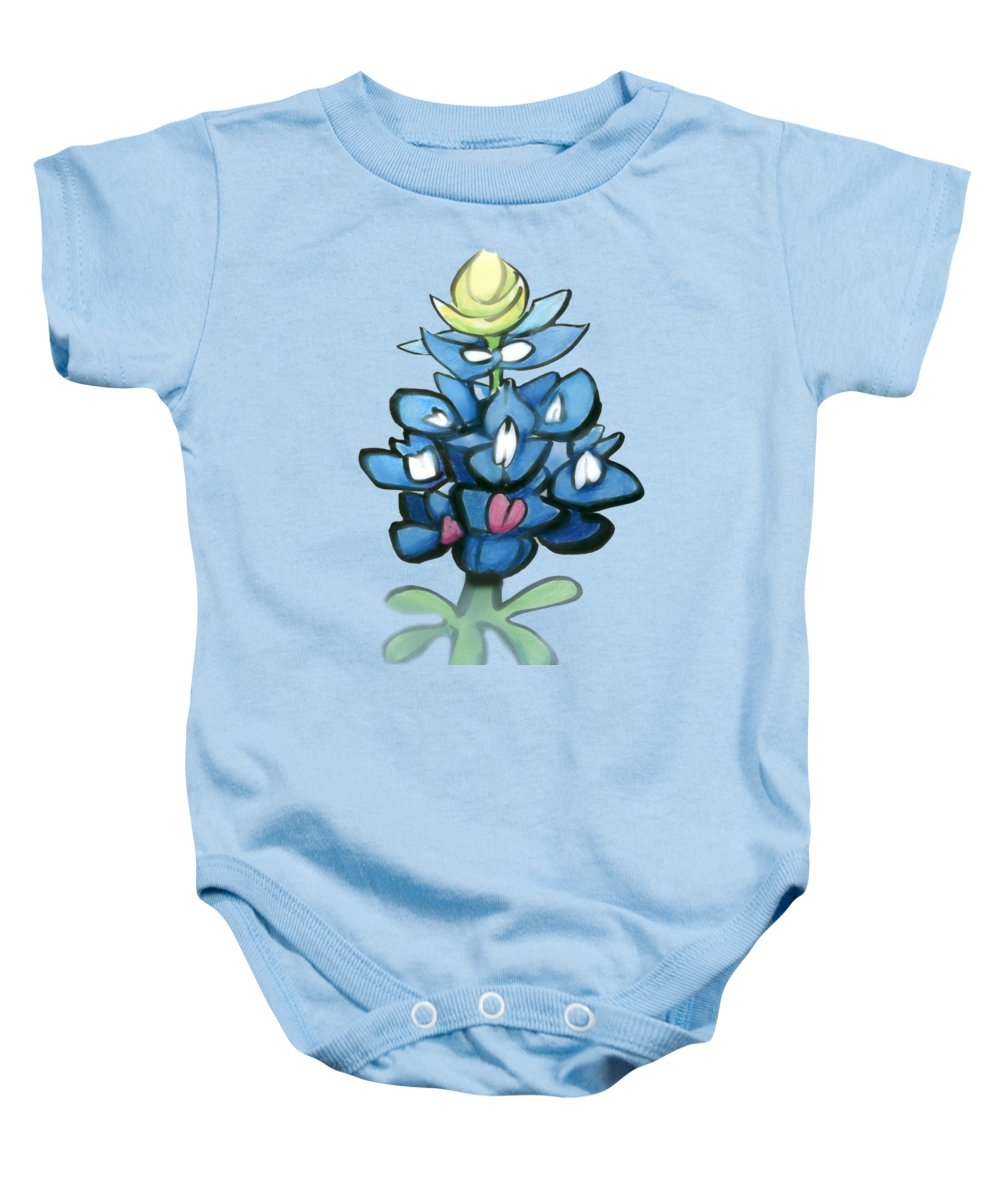 Bluebonnet Baby Onesie featuring the digital art Bluebonnet by Kevin Middleton
