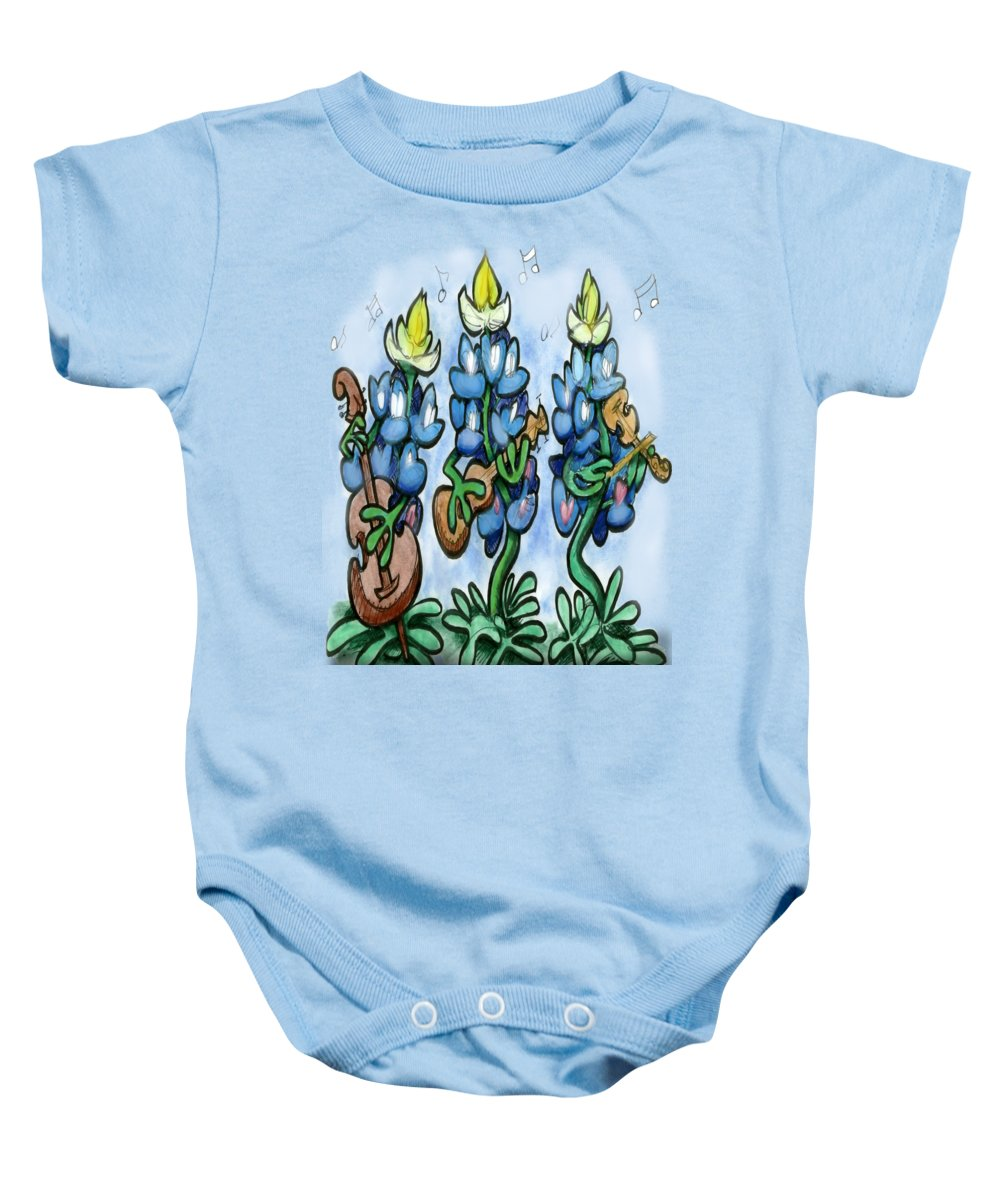 Bluebonnet Baby Onesie featuring the digital art Blues Bonnets by Kevin Middleton