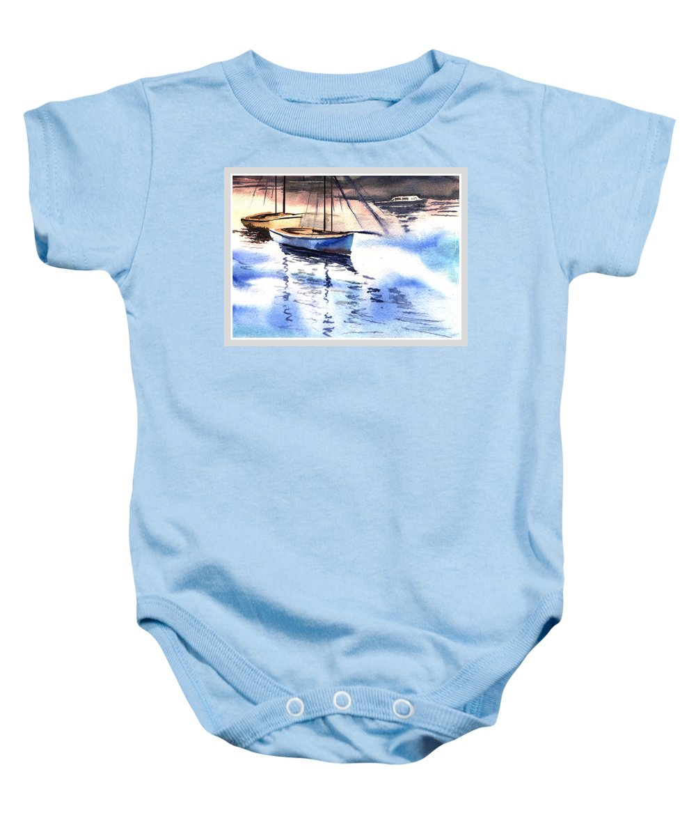 Watercolor Baby Onesie featuring the painting Boat And The River by Anil Nene