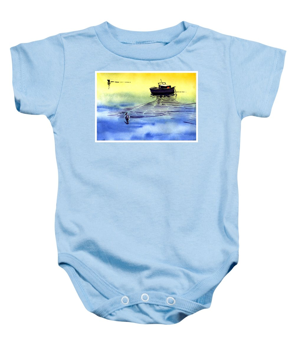 Watercolor Baby Onesie featuring the painting Boat And The Seagull by Anil Nene