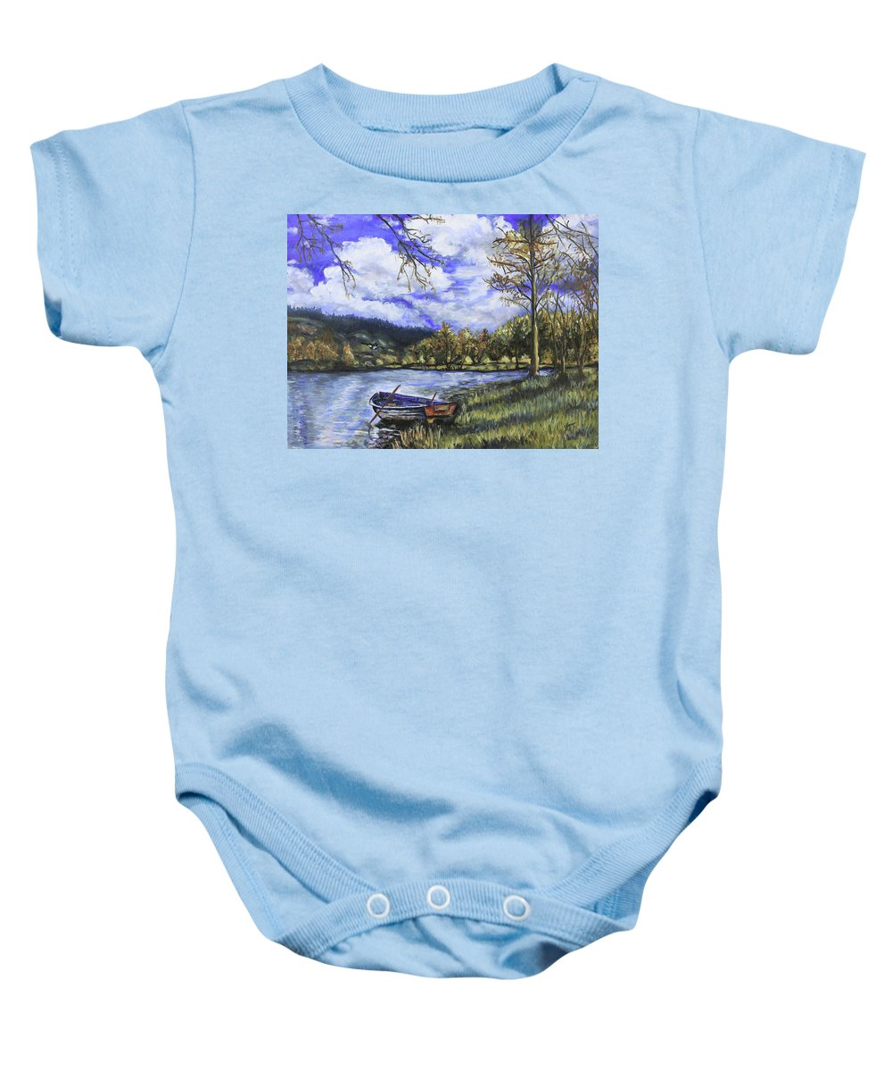 Oil Baby Onesie featuring the painting Boat By The Lake by Shuanteya Sherman