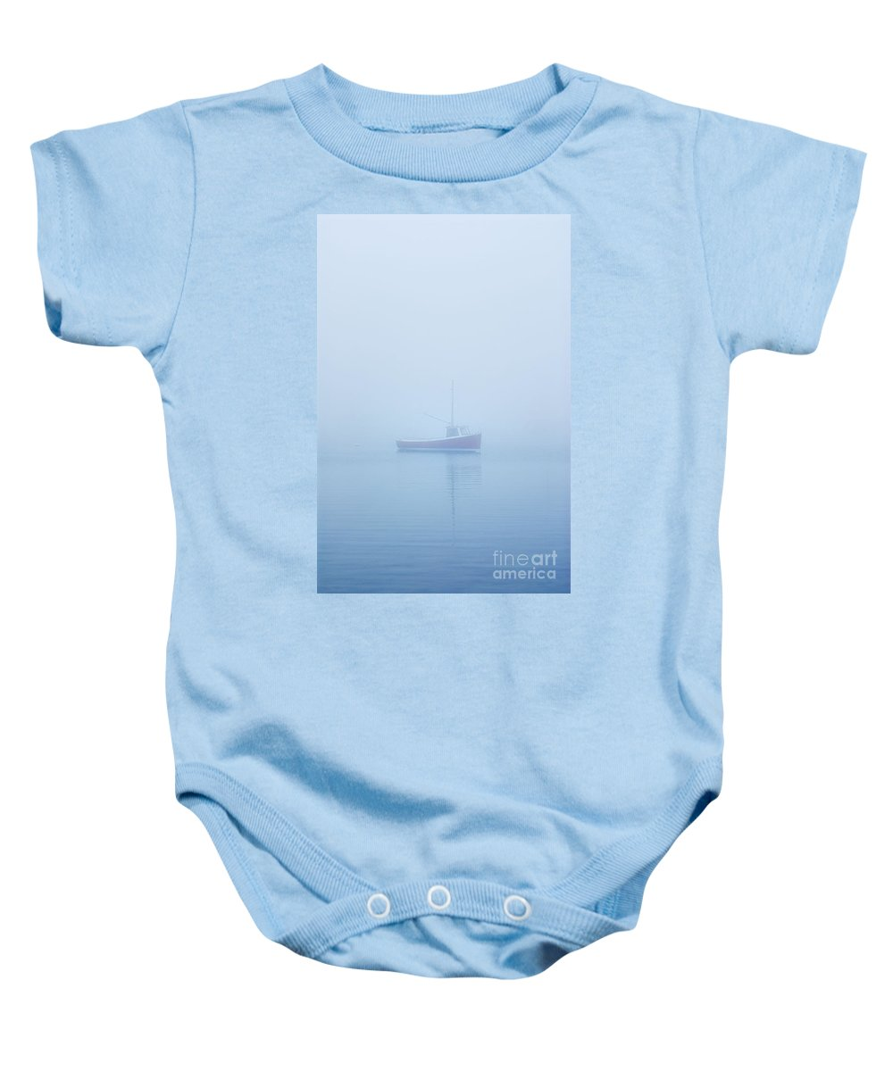 cape Cod Baby Onesie featuring the photograph Boat In Mist by John Greim