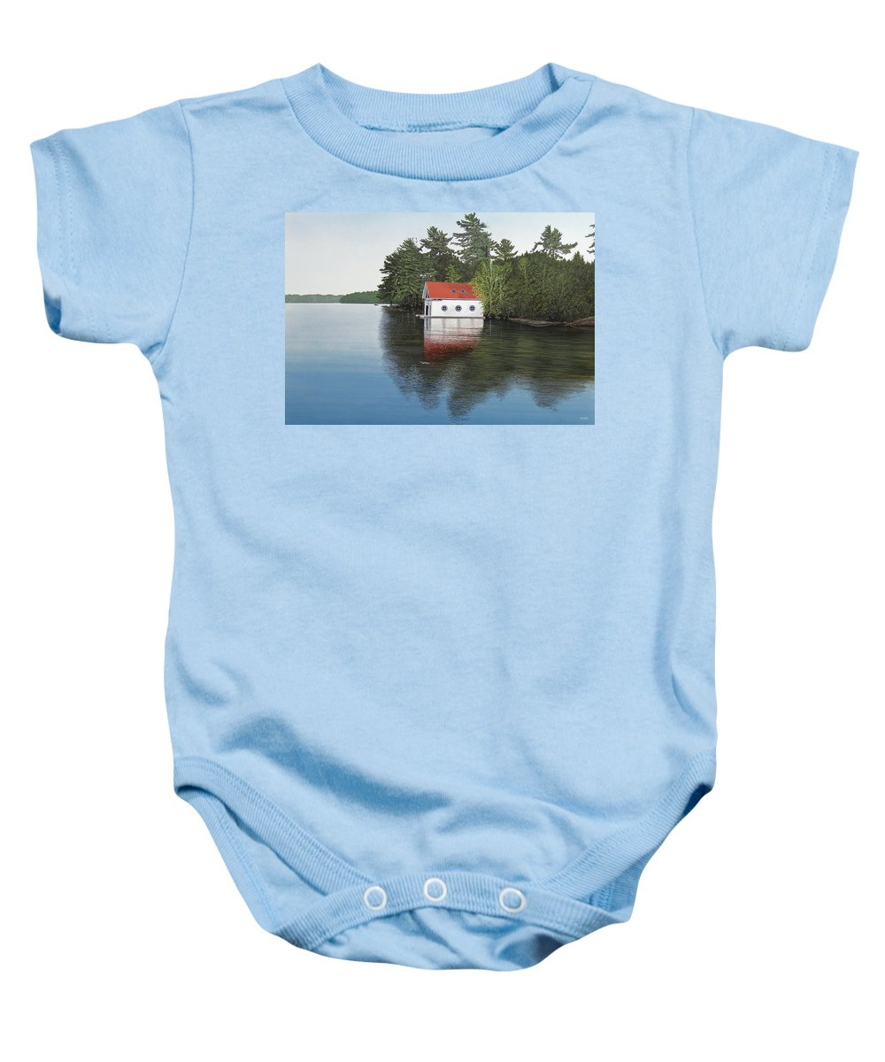Canoe Baby Onesie featuring the painting Boathouse by Kenneth M Kirsch