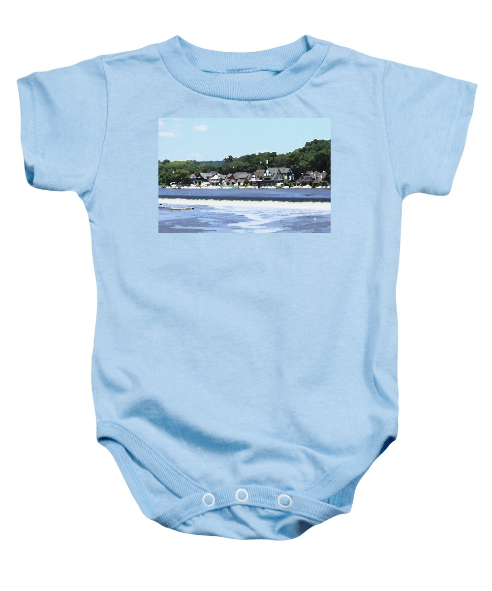 Boathouse Baby Onesie featuring the photograph Boathouse Row 2 - Palette Knife by Lou Ford