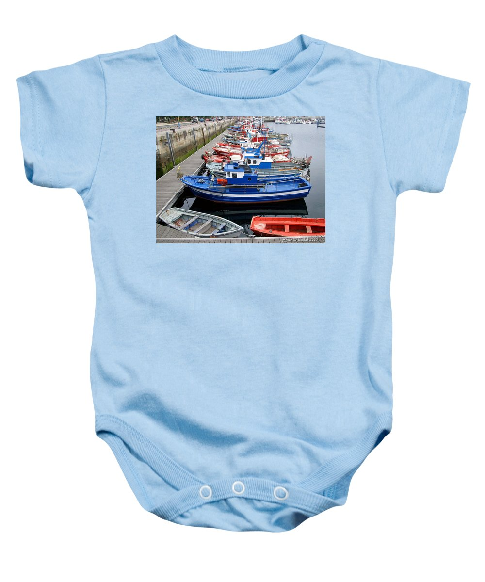 Norway Baby Onesie featuring the photograph Boats In Norway by Joan Minchak